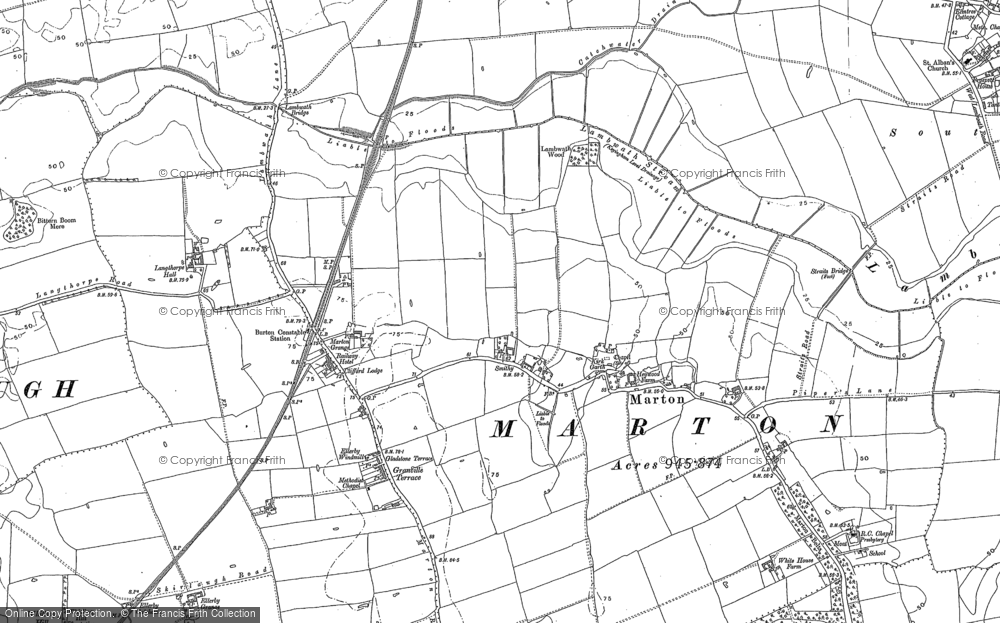 Old Map of Marton, 1889 in 1889