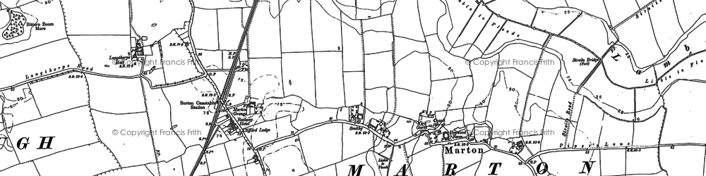 Old map of Marton in 1889