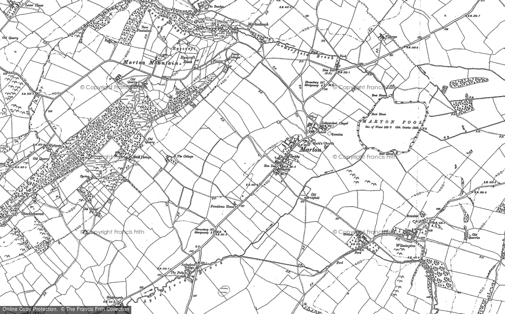 Old Map of Historic Map covering Aylesford Brook in 1901