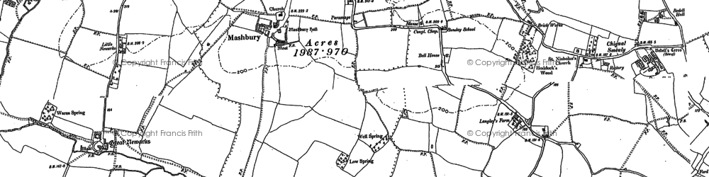 Old map of Linsteads in 1895