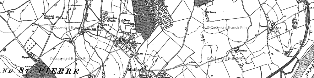 Old map of Mathern in 1900