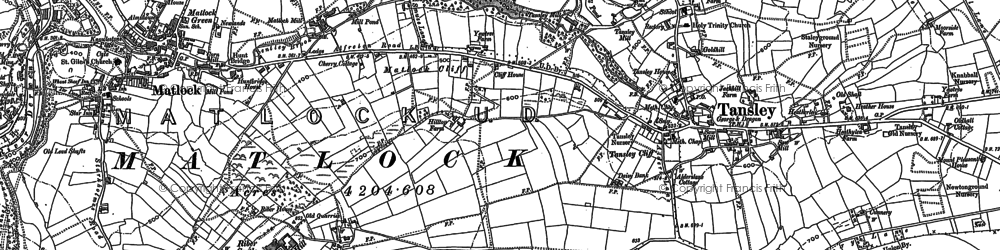 Old map of Matlock Cliff in 1878