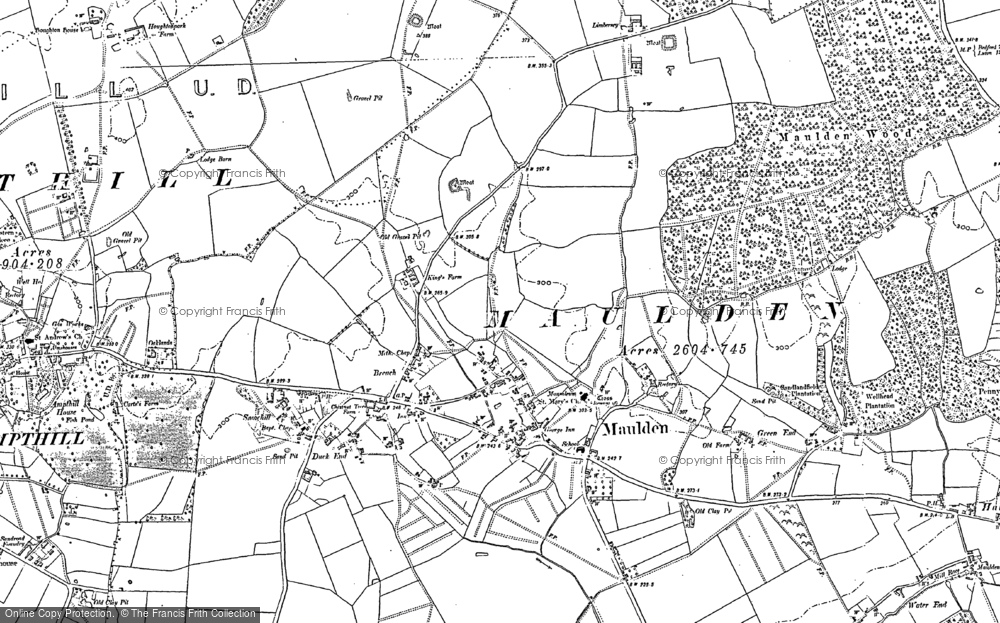 Old Map of Maulden, 1882 in 1882