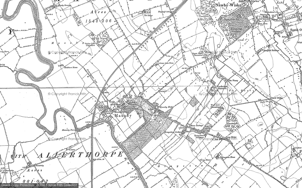 Old Map of Historic Map covering Allerthorpe Hall in 1891