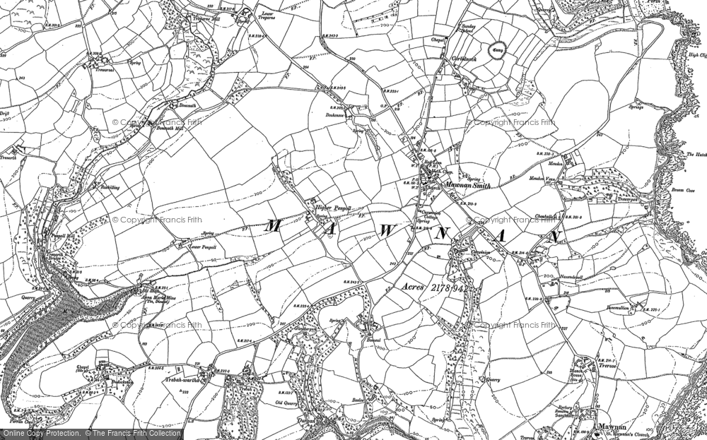 Old Map of Mawnan Smith, 1906 in 1906