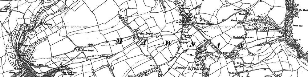 Old map of Carlidnack in 1906