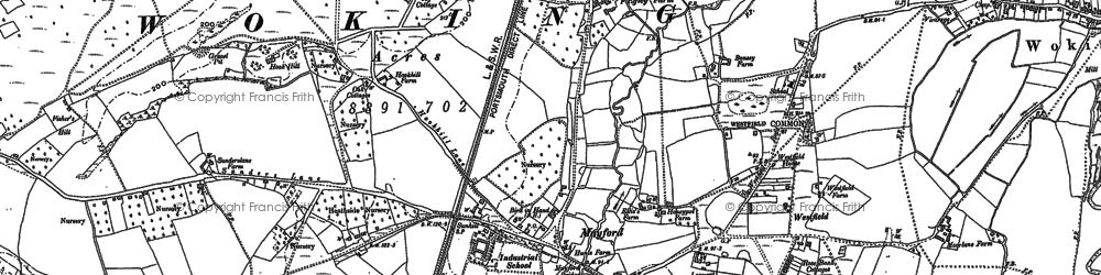 Old map of Worplesdon Sta in 1895