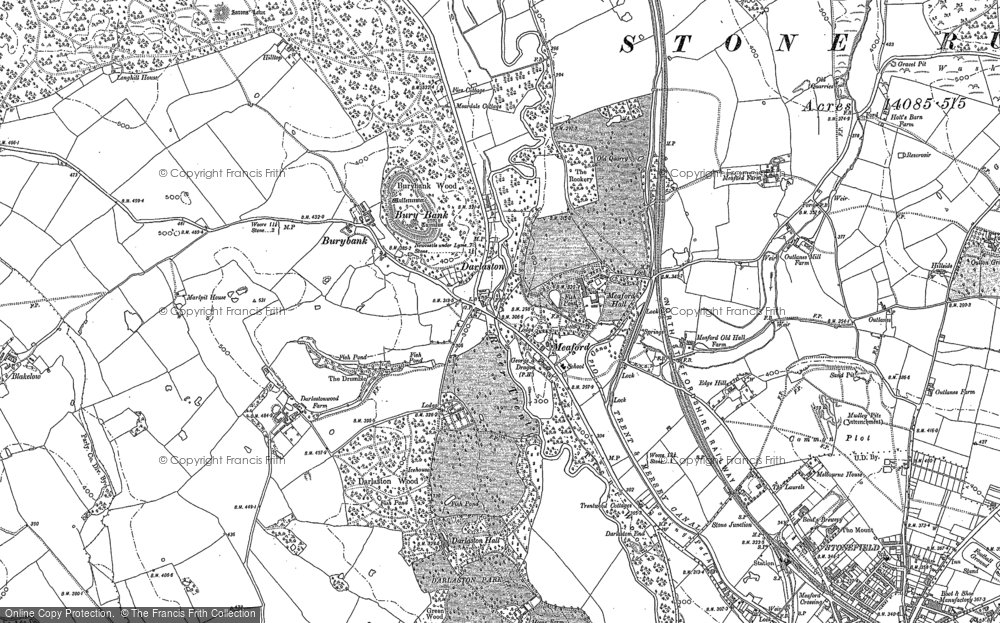 Old Map of Historic Map covering Tittensor Chase in 1879