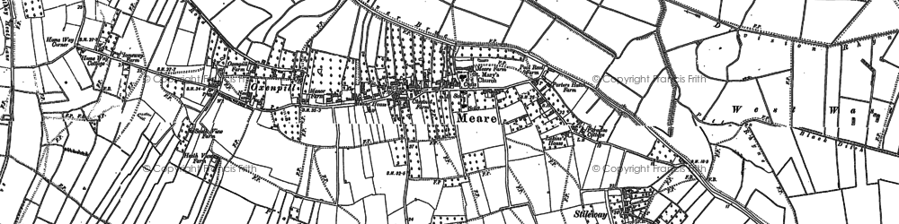 Old map of Ashcott Corner in 1884
