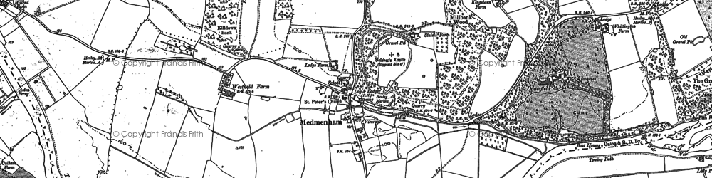 Old map of Medmenham in 1910