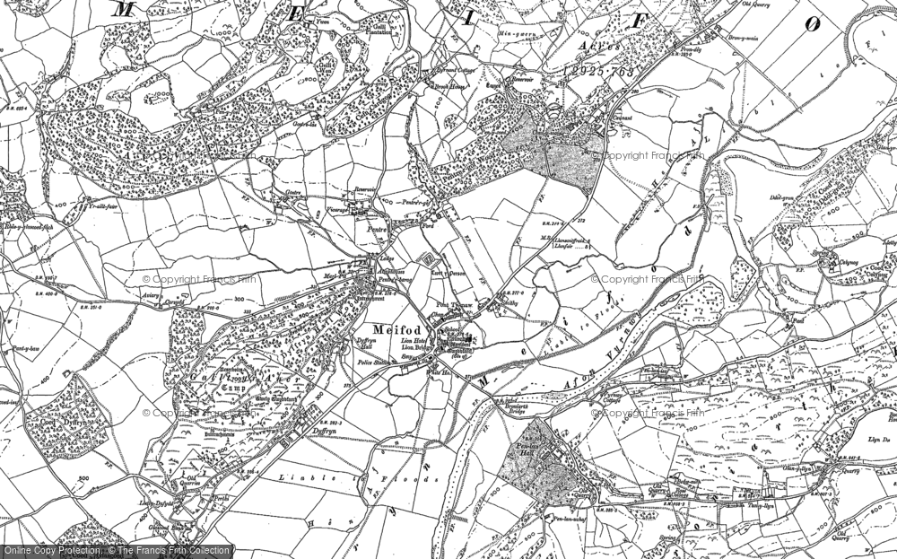Old Map of Historic Map covering Alltfawr in 1885