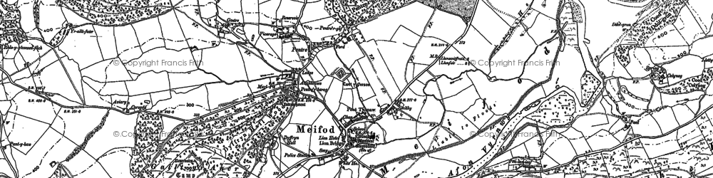 Old map of Meifod in 1885
