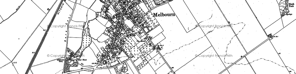 Old map of Melbourn in 1885