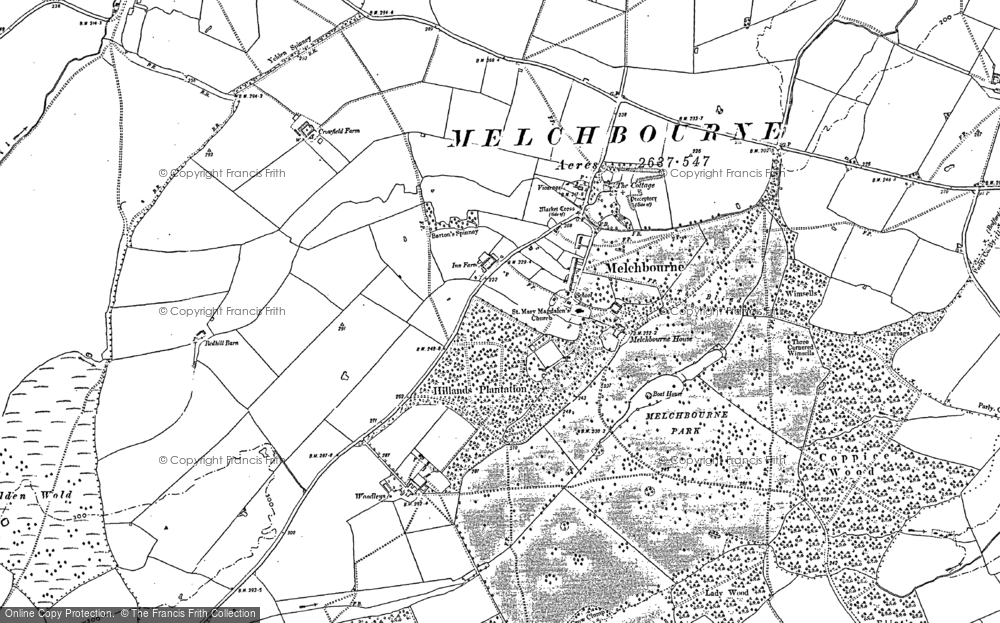 Old Map of Historic Map covering Woodleys in 1899