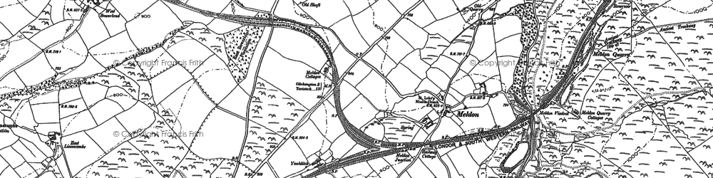 Old map of Yes Tor in 1884