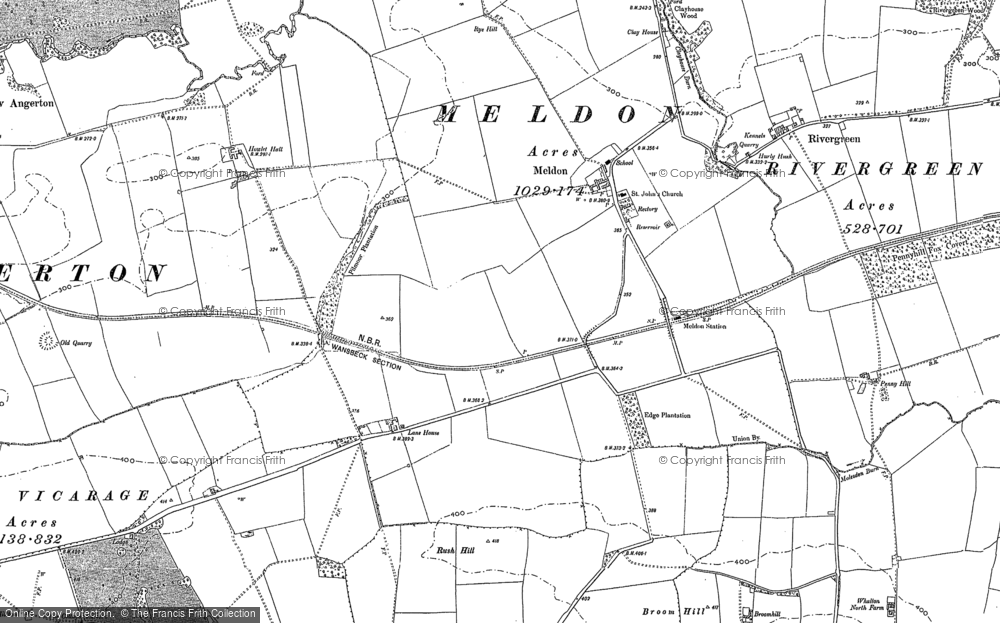 Old Map of Meldon, 1896 in 1896