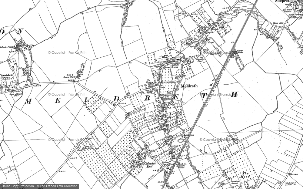 Old Map of Meldreth, 1885 - 1886 in 1885