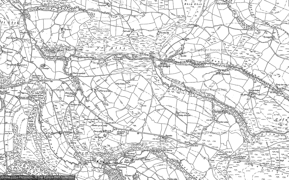 Old Map of Historic Map covering Bacheiddon in 1886