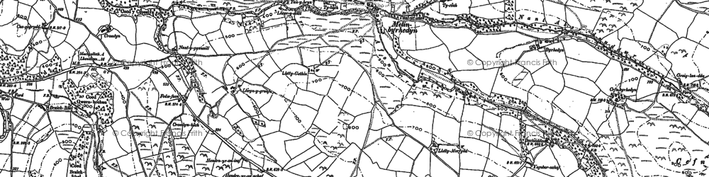 Old map of Bacheiddon in 1886