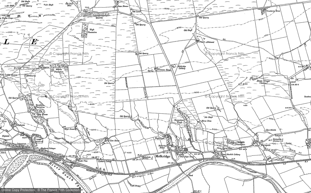 Old Map of Historic Map covering Woodhall in 1895