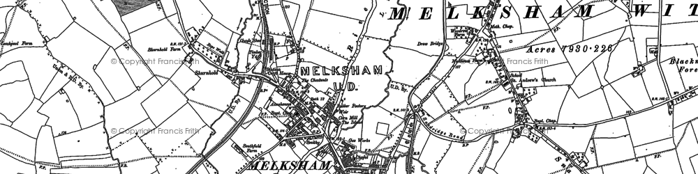 Old map of Melksham in 1899