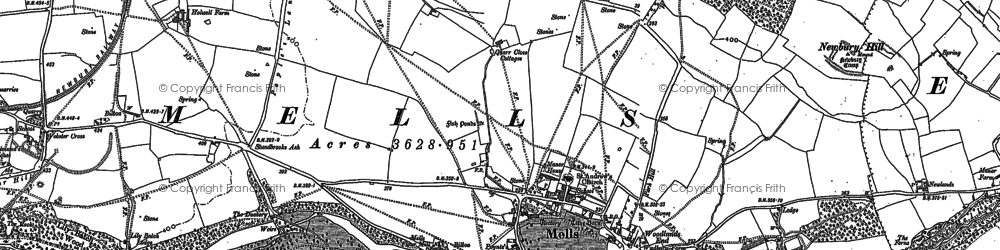 Old map of Mells in 1884