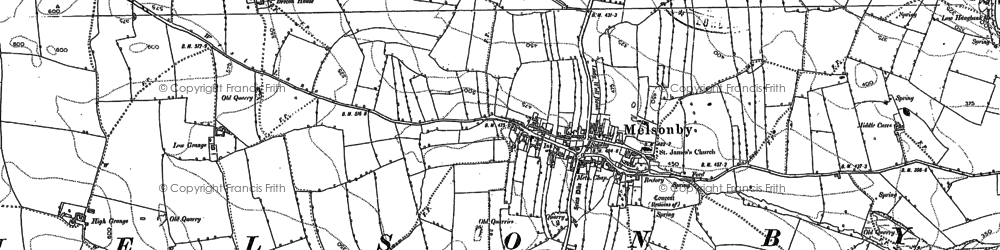 Old map of Melsonby in 1892