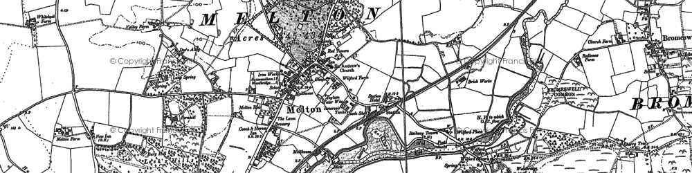 Old map of Melton in 1881