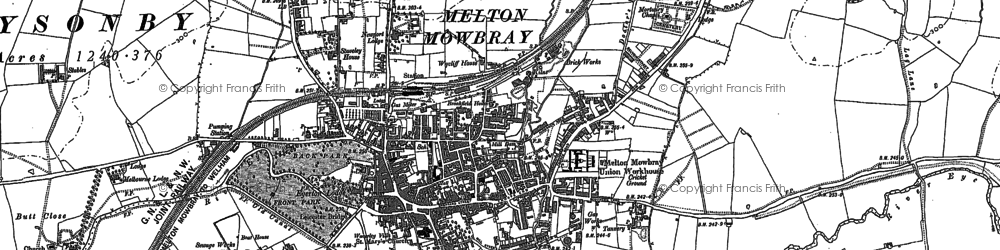 Old map of Melton Mowbray in 1902