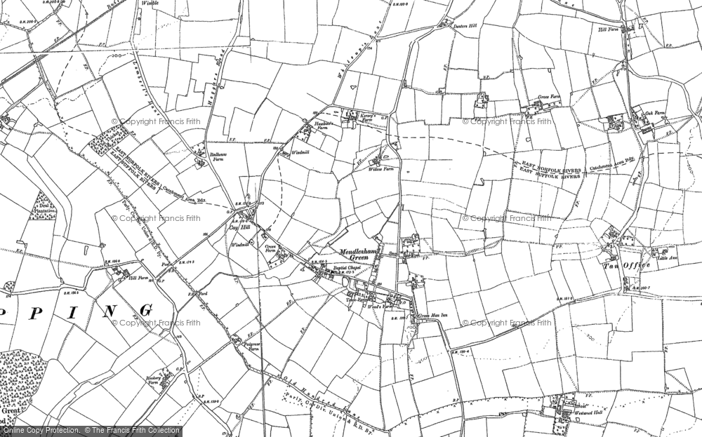 Old Map of Historic Map covering Lapwings in 1884