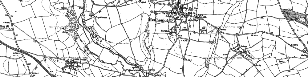 Old map of Menheniot in 1882