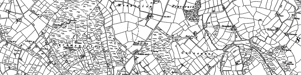 Old map of Menherion in 1878