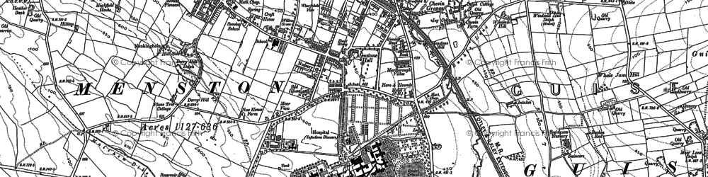 Old map of Mire Beck in 1889