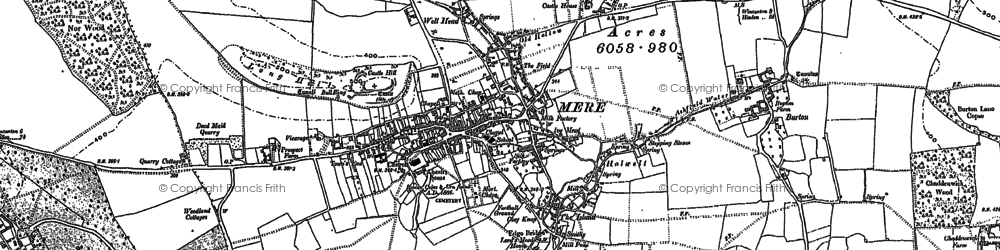 Old map of Mere in 1923