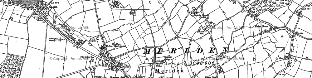 Old map of Meriden in 1886