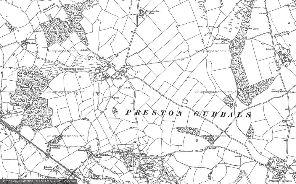 Old Map of Merrington, 1880 in 1880