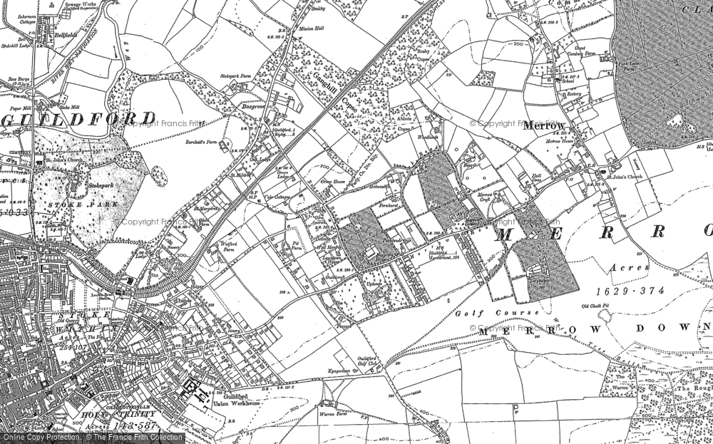 Old Map of Merrow, 1895 in 1895