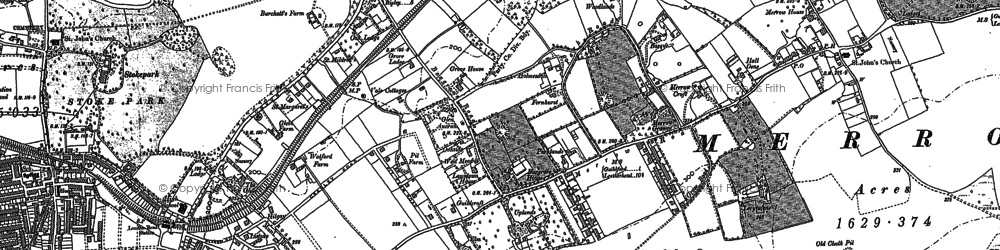 Old map of Merrow in 1895
