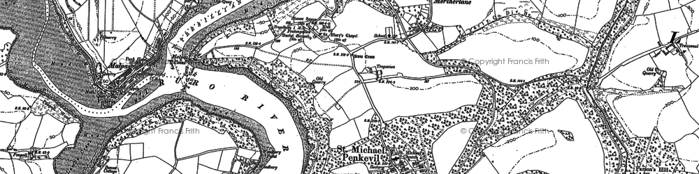 Old map of Merther Lane in 1879