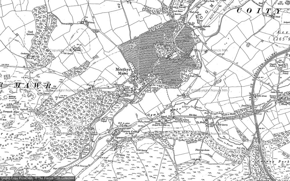 Old Map of Merthyr Mawr, 1913 - 1914 in 1913