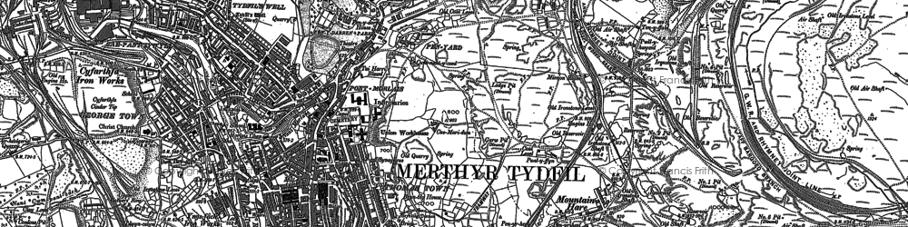 Old map of Merthyr Tydfil in 1903