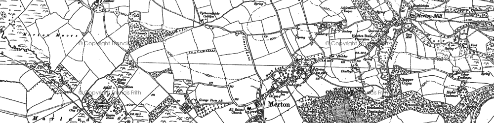 Old map of Merton Mill in 1885