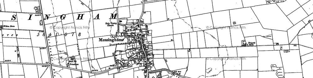 Old map of Messingham in 1885