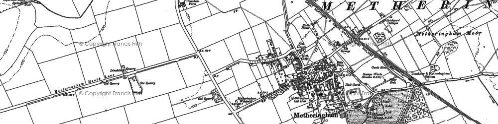 Old map of Metheringham in 1887