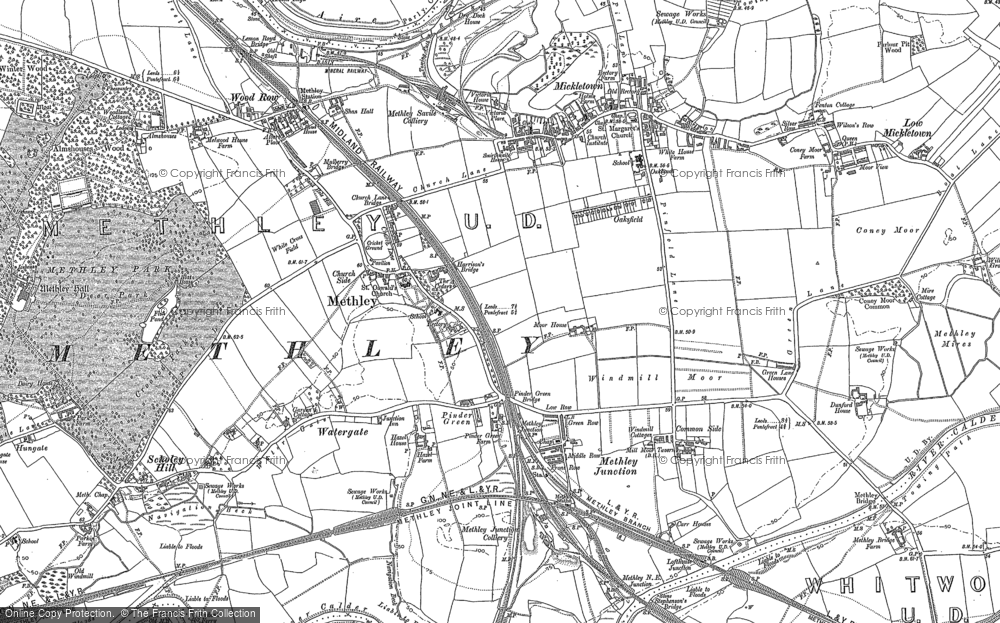 Old Map of Historic Map covering Wood Row in 1890