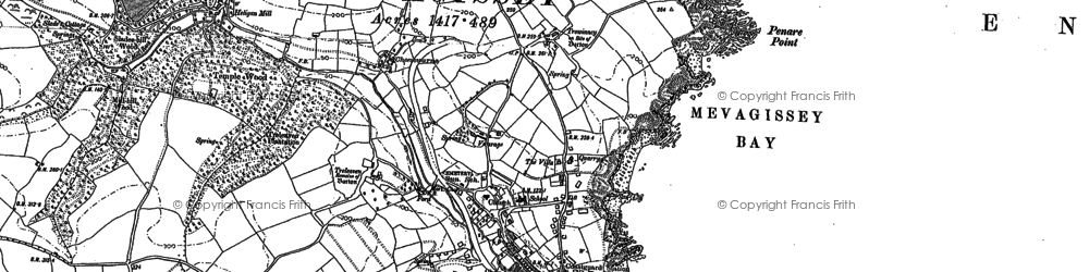 Old map of Mevagissey in 1879