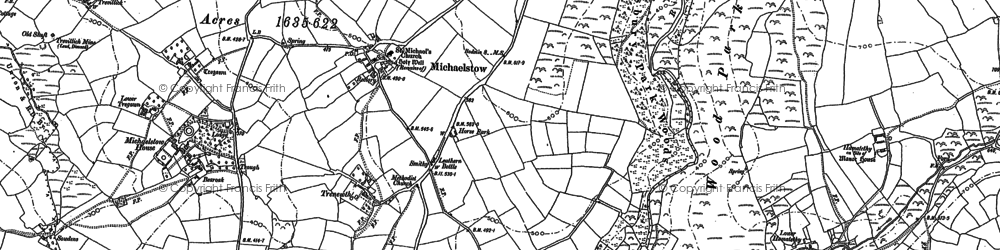 Old map of Michaelstow in 1880