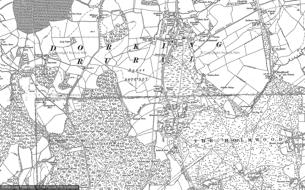 Old Map of Historic Map covering Abinger Forest in 1895