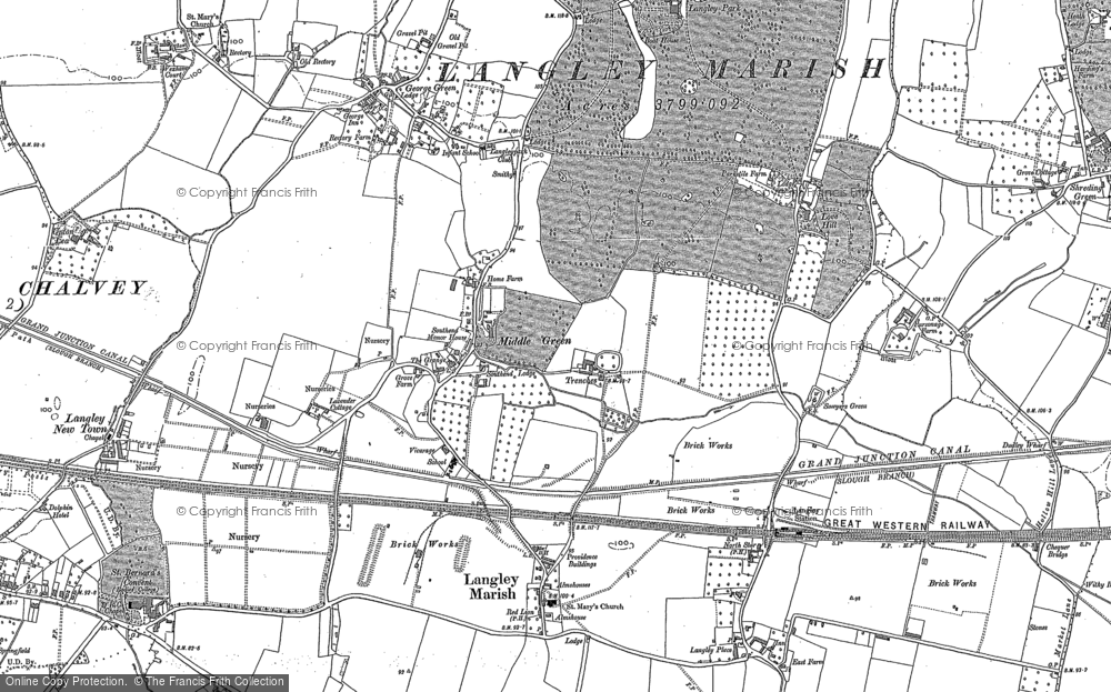 Old Map of Middle Green, 1897 - 1923 in 1897