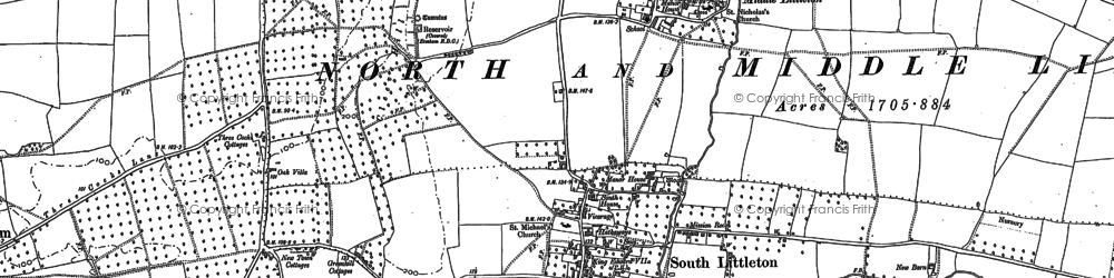 Old map of Middle Littleton in 1883